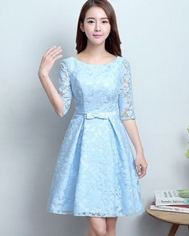Lace Cocktail Short Homecoming Bow Sash Formal Party Dress