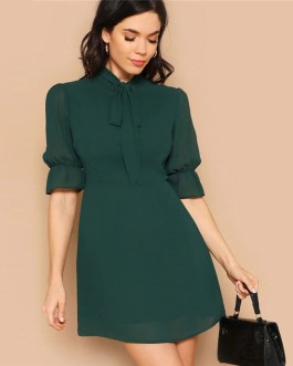 Lady Tie Neck Stand Collar Flounce Sleeve Mini Dress