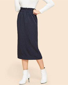 Navy Frilled Waist Elastic Striped Straight Skirt