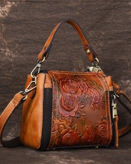New Retro Genuine Leather Bucket Handbag Hand Embossed Craft Flower Crossbody bag