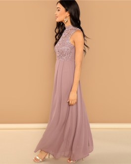 Pink Guipure Lace Overlay Bodice Maxi Dress