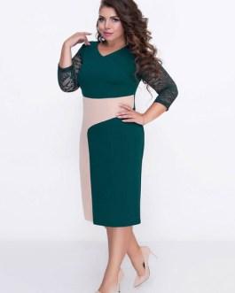 Plus Size Bodycon Lace Patchwork Casual Dress