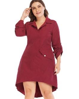 Plus Size Long Sleeve Buttons Shirt Dress