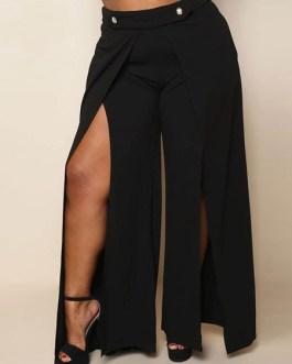 Plus Size Pants Black Split Wide Leg Long Pants