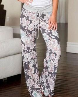 Pajama Lounge Pants Women Floral Pants Drawstring Grey Palazzo Pants