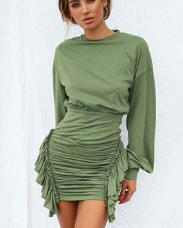 Jewel Neck Long Sleeves Pencil Dress
