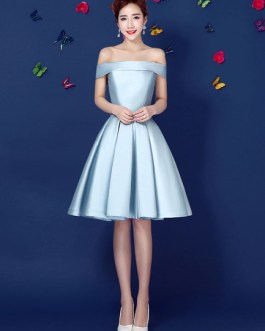Satin Off The Shoulder Prom Dress Lace Up Pleated Knee Length Dress