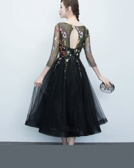 Short Floral Print Cocktail Dress Lace Tulle Prom Party Dress