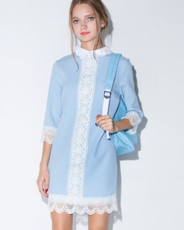 Slim Fit Two-Tone Peter Pan Collar Lace Shift Dress
