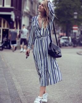Stripe Maxi Dress Long Sleeve Cotton Shirt Dress With Pockets