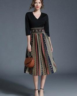 V Neck Half Sleeve Printed Slim Fit Flare Dress