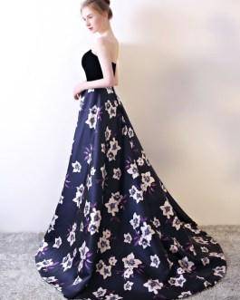 Velvet Satin Sweetheart Neckline Formal Occasion Dress