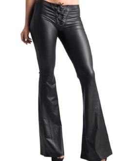 Women Black Pants Lace Up PU Leather Drawstring Flared Leg Trousers