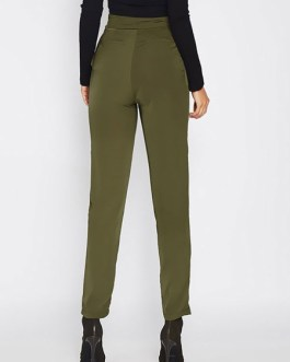 Women High Waisted Pants Solid Color Tapered Trousers