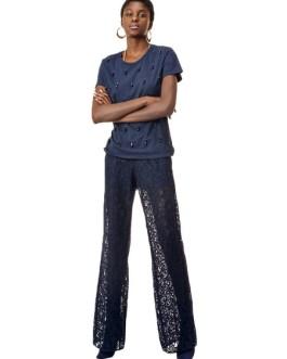 Women Lace Pants Deep Blue Solid Color Flared Leg Pants