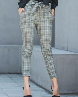 Women Laid Pants High Waist Tapered Pants