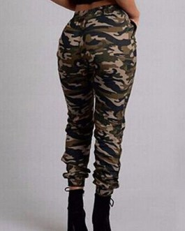 Women Camouflage Pants Elastic Waist Drawstring Casual Pants