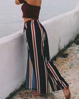 Women Pants Striped Deep Blue Split Wide Leg Pants