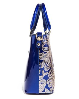 Women Patent Leather Handbag Large Capacity Sequin Casual Crossbody Bag