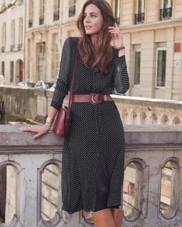 Women Shirt Chiffon Polka Dot Button Midi Dress