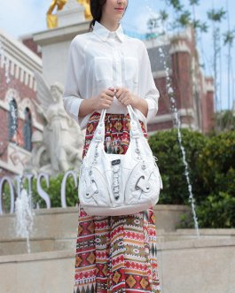 Women Soft Leather Durable Metal Handbag Crossbody Bag