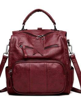Women Soft PU Leather Multi-function Handbag Solid Large Capacity Backpack