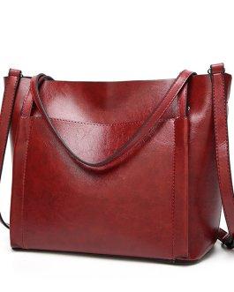Women Vintage Leather Handbags Retro Shoulder Bag Tote Bag