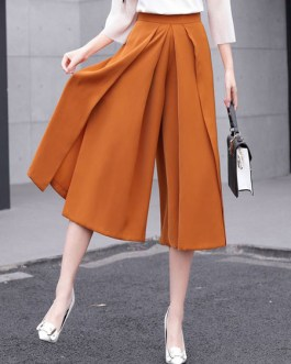 Women Wide Leg Pants Solid Color Pleated Cropped Pants