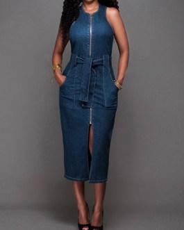 Women's Sleeveless Belted Denim Midi Dress