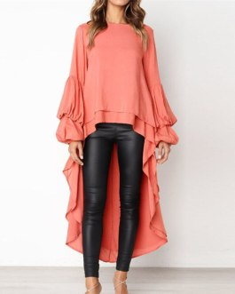 Asymmetry Long Shirt Tops Solid Color Fashion Solid Blouse