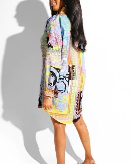 Casual Long Sleeve Turn-down Collar Dress