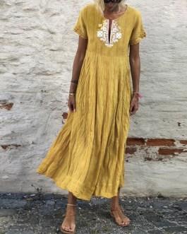 Casual Short Sleeve Plus Size O-Neck Maxi Long Dress