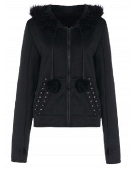 Faux Fur Insert Hooded Pendant Lace-Up Zippered Hoodie