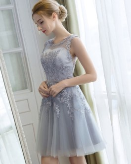 Homecoming Short Lace Applique Tulle Prom Party Dress