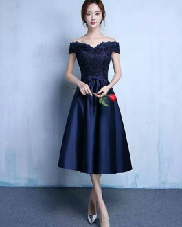 Lace Off The Shoulder Prom Satin Tea Length wedding guest dress