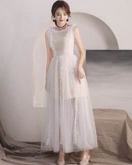 Long Tulle Sleeveless Floor Length Prom Dress