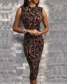 New Fashion O-Neck Sleeveless Floral Print Bodycon Dress
