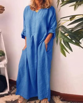 O Neck Cotton Long Sleeve Loose Plus Size Party Dress