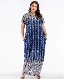 Plus Size Short sleeve O-Neck Floor-Length maxi Dress