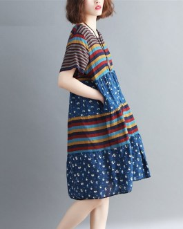 Plus size Striped Loose short sleeve Casual Dress