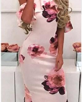 Sexy Floral Print Ruffles Halter Sheath Dress