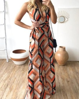 Sexy Geometric Lace-up Sleeveless Maxi Dress