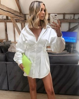 Sexy Turn-Down Collar Button Long Sleeve Shirt Dress