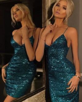 Sexy V Neck Glitter Sequins Spaghetti Straps Pencil Dress