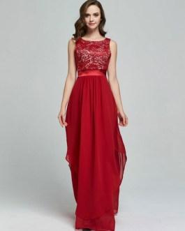 Sleeveless Jacquard Draped Long Dress