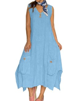 Sleeveless Solid Color Splited Button Maxi Dress