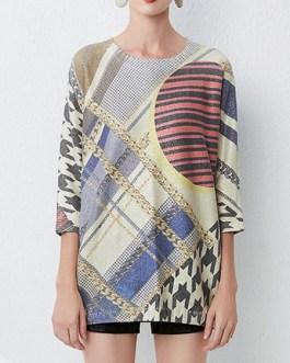 Cosy Jewel Neck Crochet Geometric Stretch Pullover Sweater