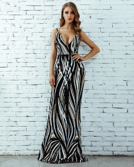 Evening Party Lucury Sequin Beading Maxi Long Celebrity Dress