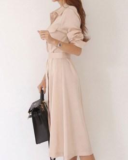 Turndown Collar Pleated Half Sleeves Cotton Layered Shirt Dresses