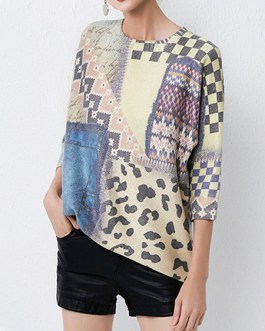 Casual Jewel Neck Long Sleeves Geometric Stretch Pullovers